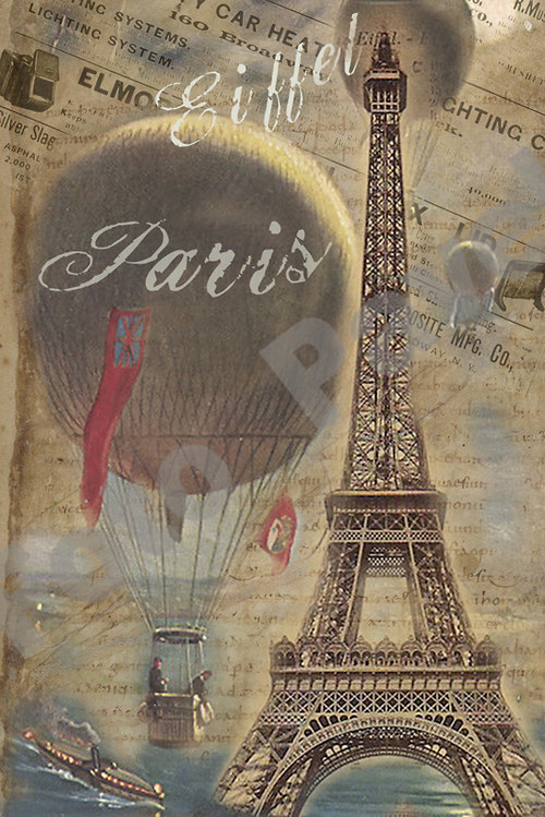 Vintage motiv -  Paříž, Eiffelovka - 1898