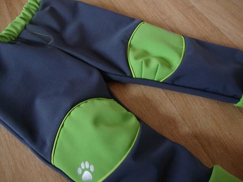 Rostoucí softshellové kalhoty šedo - limetková