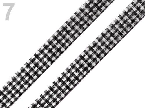 Stuha károvaná š.12mm řezaná černá