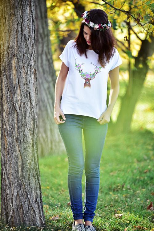 Tričko bílé s jelínkem