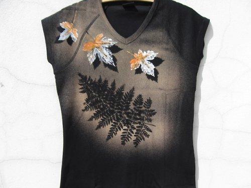 Tričko z lesa a kapradí vel.XL