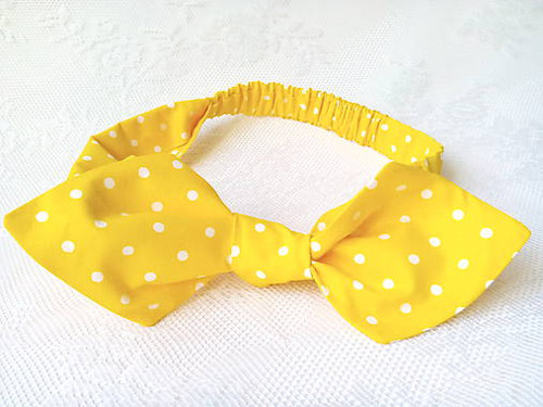 Pin Up headband on elastic (yellow/white dots)