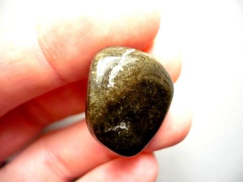 Trom. kámen - zlatý obsidián 27 mm, č.11