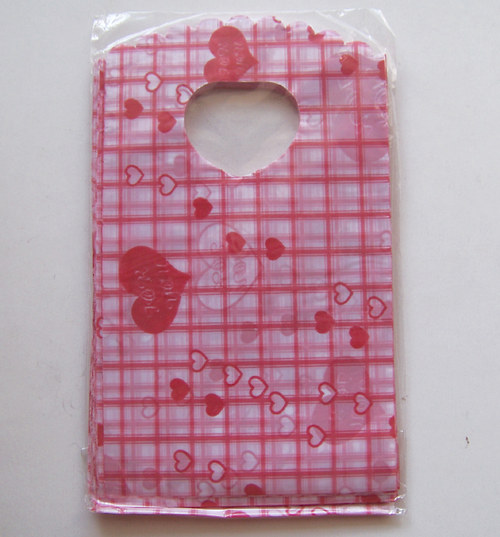 Taška mikrotenová 60mic/ srdce red2/9x15cm/ 50ks