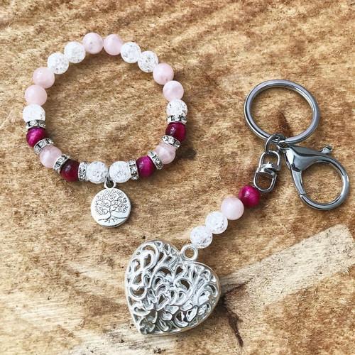 Set klíčenka + náramek Omnia Růžový