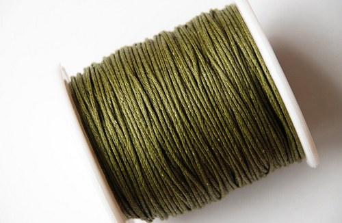 voskovaná šňůrka 10m- tmavá olivově zelená