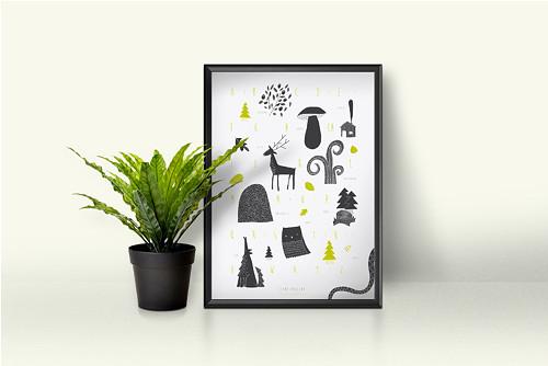 Abeceda lesní - autorský plakát A2