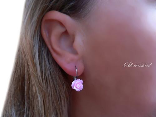 Naušnice Nerez ocel ROSES  Pink