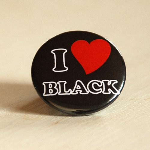 Motiv Miluji černou - placka / zrcátko / magnet