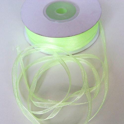 stuha šifonová/3mm/ sv. zelená/ 1m