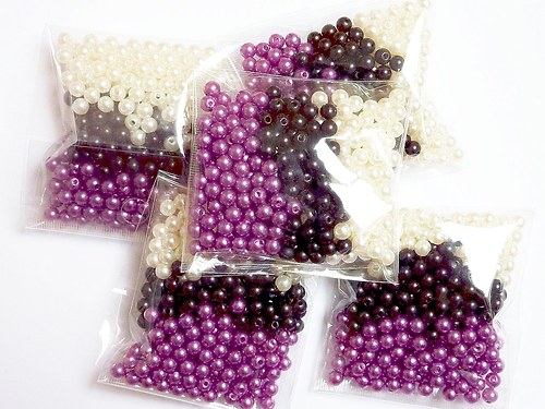 *300ks* Voskové perle mix Glace Ø 4mm fialová
