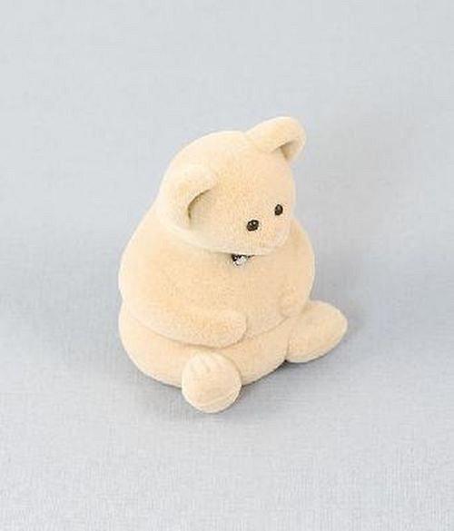 Sametová krabička na šperky - krémový medvěd