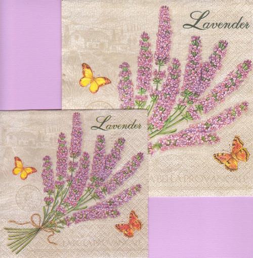 Sada ubrousků - levandule s motýlky