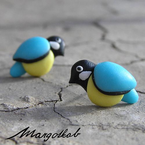 Ptáčci: Sýkorky  -  náušnice