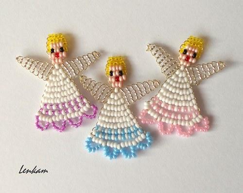 Vánoční andílci z rokajlu s krajkovou sukýnkou 2