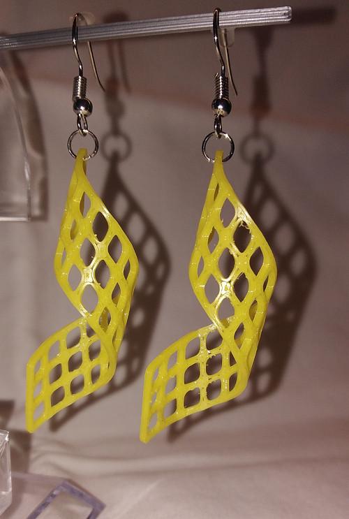Náušnice spirála žlutá - 3D tisk