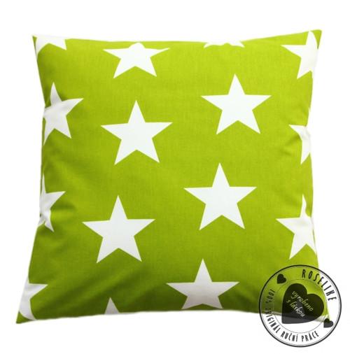 Povlak na polštář Zelený s velkými hvězdami