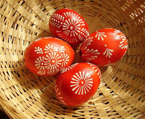 Velikonoční kraslice - červenobílé