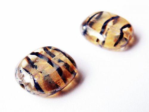 Zlaté pruhované oválky s travertinem (ploškované)