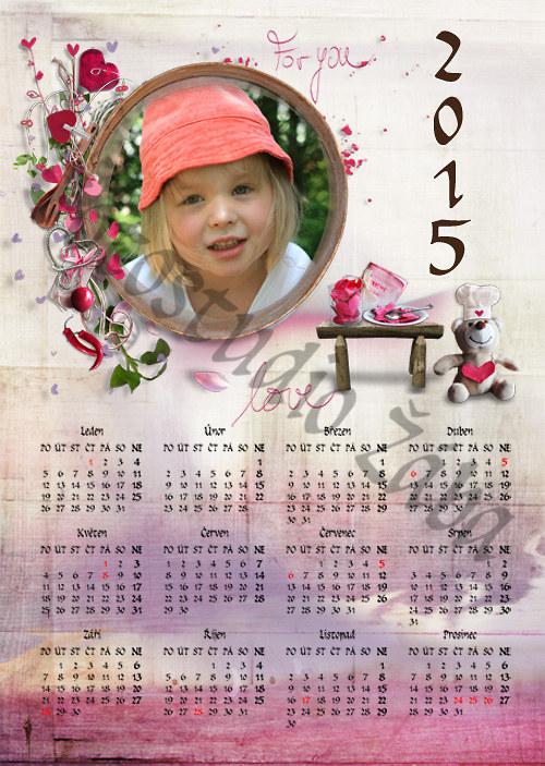 Kalendář ke Sv. Valentýnu růžový