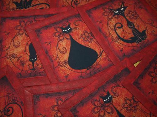 Prostírky pod hrnečky- červené kočky III.
