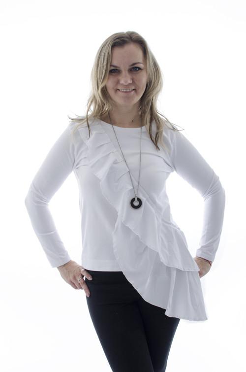 Tričko s asymetrickým volánom