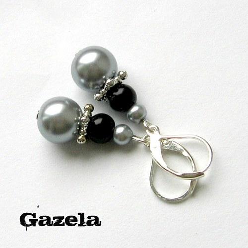 Náušnice Šedé perlové
