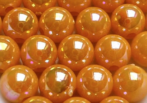 Plastové kuličky duhové 6 mm - meruňková / 10 ks