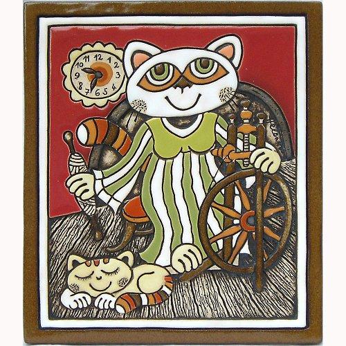 Keramický obrázek - Kočka a kolovrátek K-141-CE