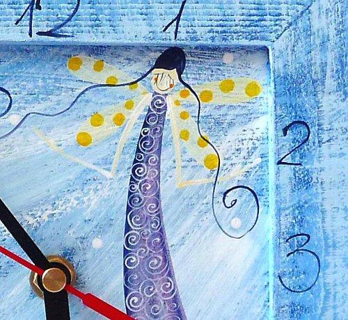 hodiny s velkou kukačkou - modré a andělem