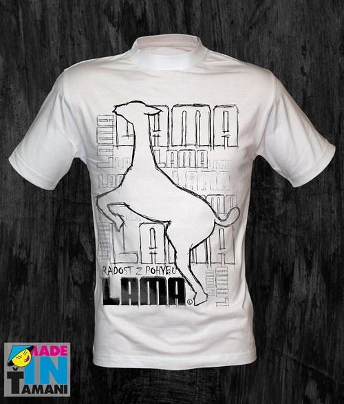 Pánské bílé tričko s Lamou velký potisk 2