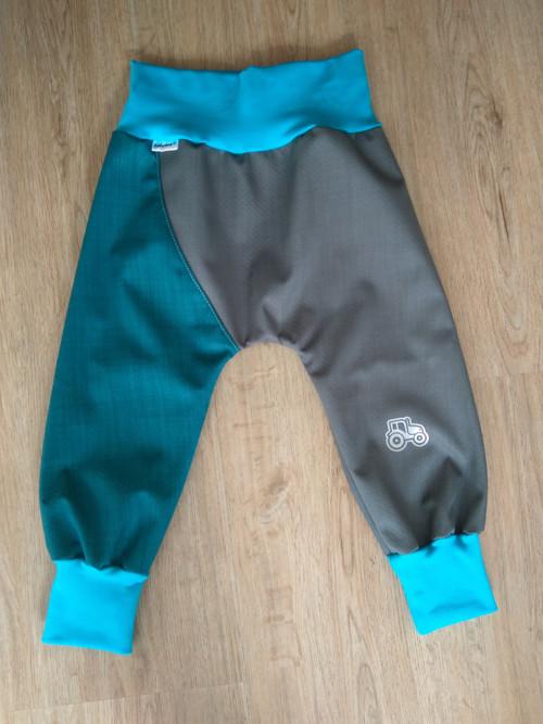 Jarní/podzimní softshellové kalhoty-šedá/petrolej