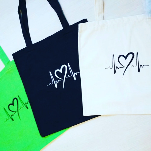 plátěná taška - EKG se srdcem -zelená