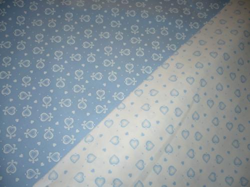 povlečení do postele modrá srdíčka 140x200, 70x90