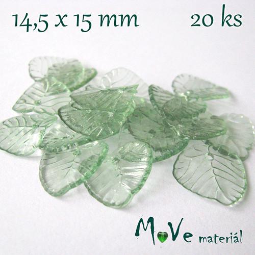 Akrylové transparentní lístečky, 20ks, zelené