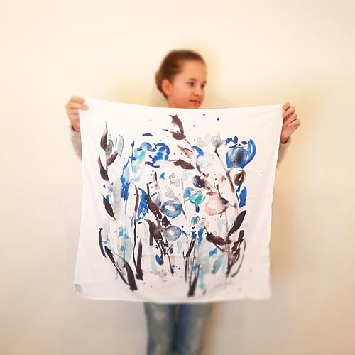 Modré květiny. Šátek s akvarelem.