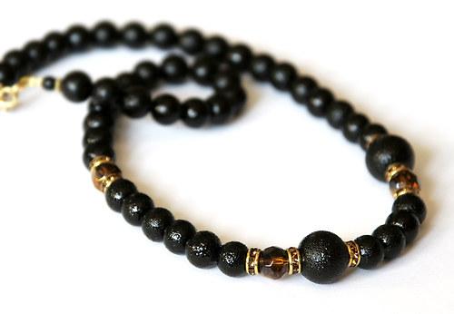Luxusní černý náhrdelník se štrasovými rondelkami