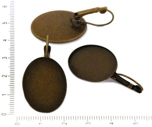 2ks Starožitné Bronzové Páka Zpět Náušnice Prázdné