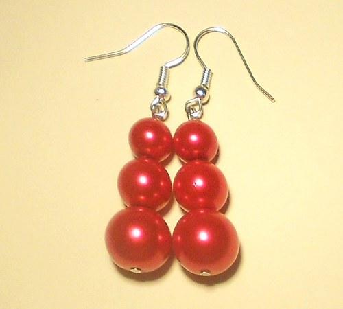 Perly - naušnice červené