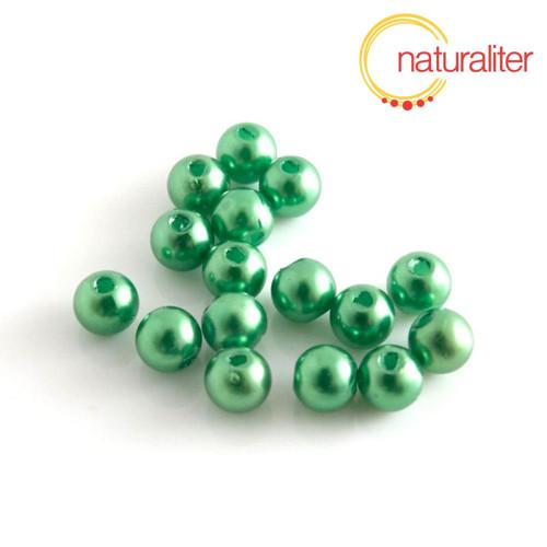 Voskované perly, zelené, 6mm, 50ks