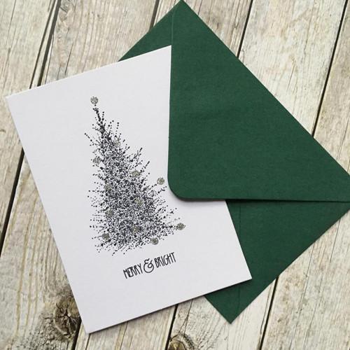 Elegantní vánoční přání se stromečkem a stříbrem