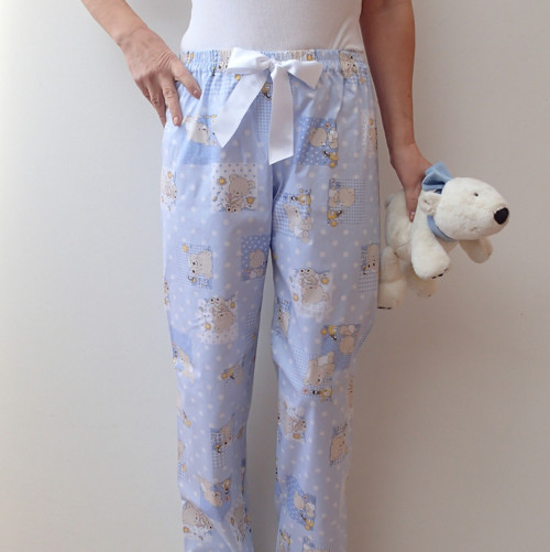 Bleděmodré spací kalhoty s medvídky
