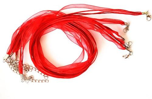 Náhrdelník - organza stuha červená
