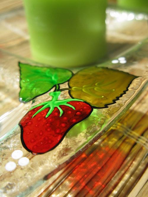 jahodový svícen trojitý