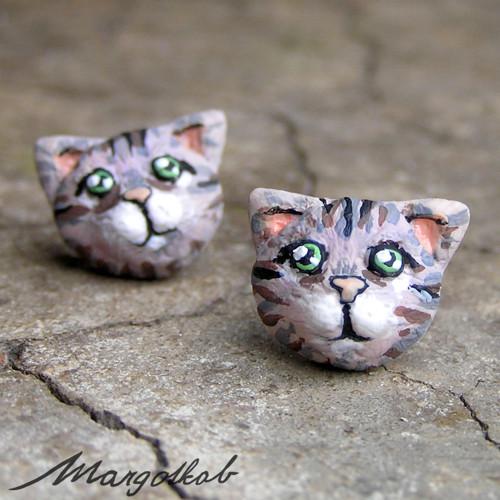Kočky: náušnice kočička mourek