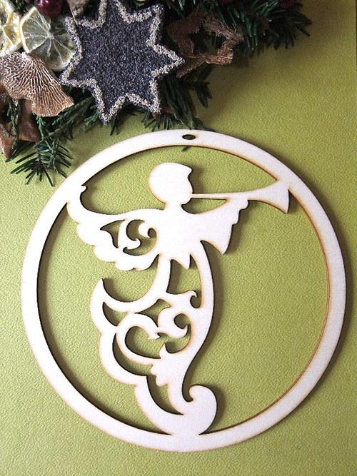 Vánoční dřevěné ozdoby - ZÁVĚS - ANDĚL BAŇKA
