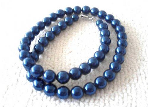 Náhrdelník vosk tmavě modrý 10mm