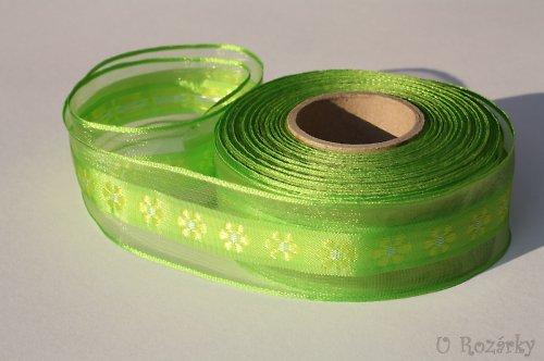 Stuha s drátkem-kvítek - šíře 40 mm, zelená