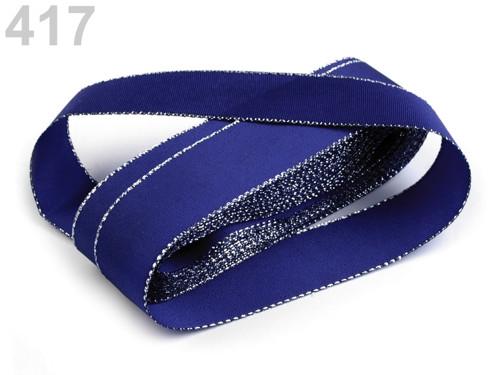 Taftová stuha s lurexem 25mm (10m) - modrá stříb.