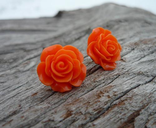 Náušnice Růžičky Oranžové napichovačky